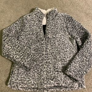 Black/White Sherpa Quarter Zip